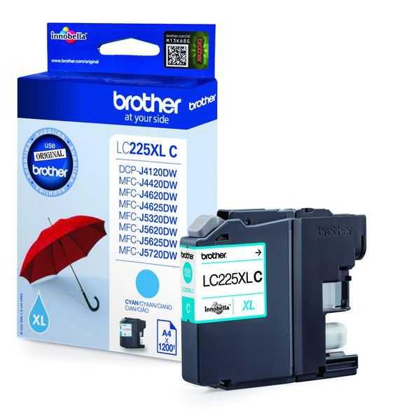 originál Brother LC-225XLC cyan modrá azurová originální inkoustová cartridge pro tiskárnu Brother MFC-J4625DW