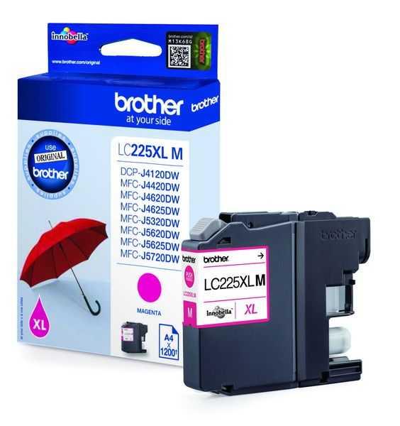 originál Brother LC-225XLM magenta purpurová originální inkoustová cartridge pro tiskárnu Brother MFC-J4625DW