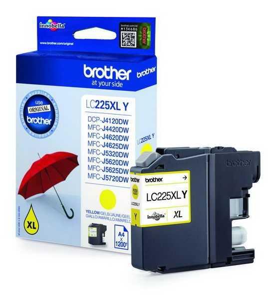 originál Brother LC-225XLY žlutá originální inkoustová cartridge pro tiskárnu Brother MFC-J4625DW