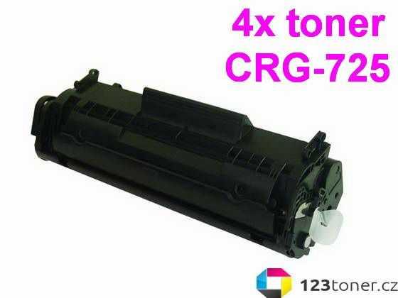 4x kompatibilní toner s Canon CRG-725 (1600 stran) black černý toner pro tiskárnu Canon i-SENSYS LBP6000