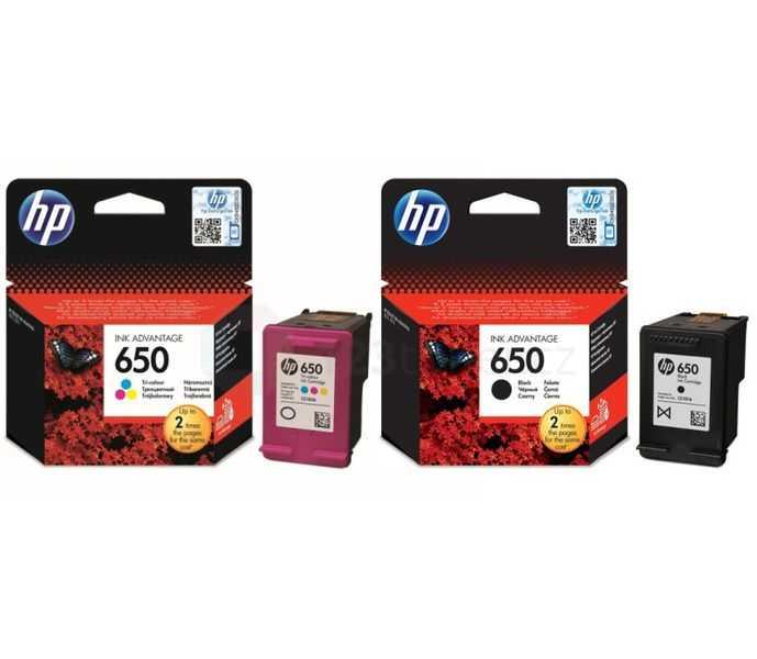 originální HP 650 BK (CZ101AE) a HP 650 color (CZ102AE) black černá a color barevná originální inkoustová cartridge pro tiskárnu HP DeskJet Ink Advantage 1015