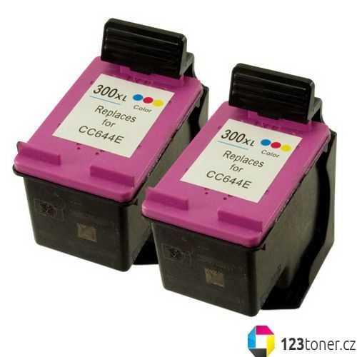 2x HP 300XL color (CC644EE) inkoustová kompatibilní barevná cartridge pro tiskárnu HP DeskJet F4210