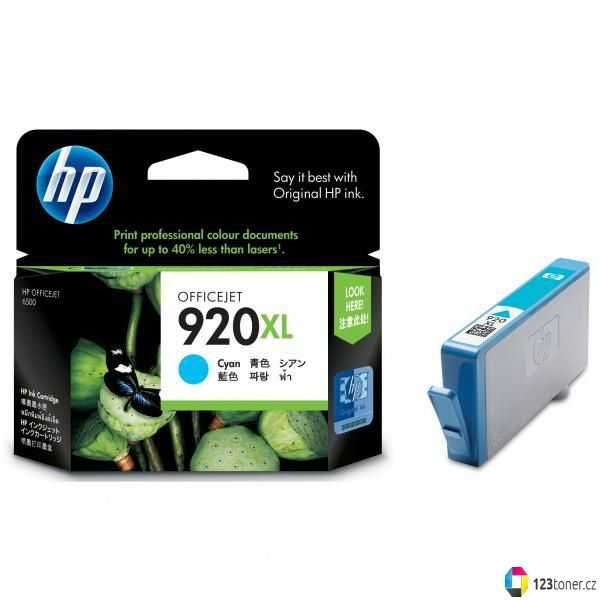 originální HP 920XL (CD972A) cyan azurová modrá originální inkoustová cartridge pro tiskárnu HP OfficeJet 7500