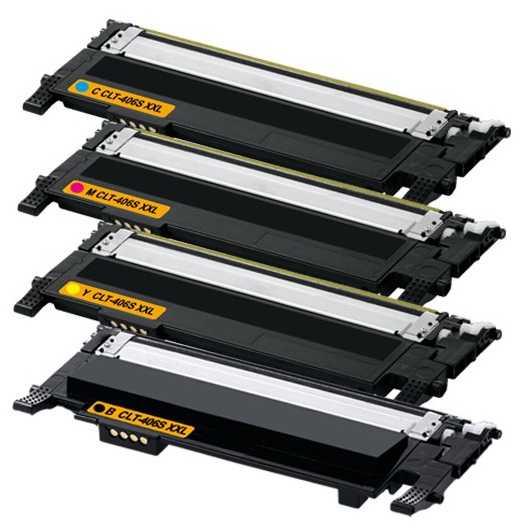 sada kompatibilních tonerů s Samsung CLT-P406S CMYK (CLT-K406S, CLT-C406S, CLT-M406S, CLT-Y406S) - 4x tonery pro tiskárnu Samsung CLX-3305FW