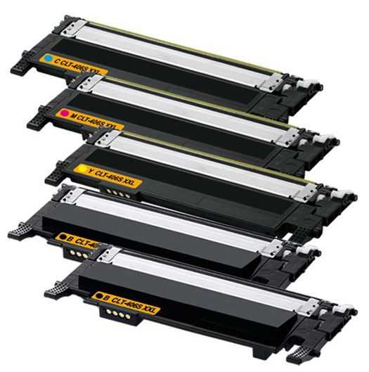 sada kompatibilních tonerů s Samsung CLT-P406S - 5x toner (CLT-K406S, CLT-C406S, CLT-M406S, CLT-Y406S) tonery pro tiskárnu Samsung Xpress C460W