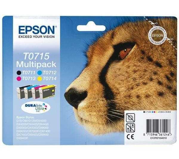 originální sada Epson T0715 (T0711-T0714) - 4 kusy originální cartridge pro tiskárnu Epson Stylus DX7450