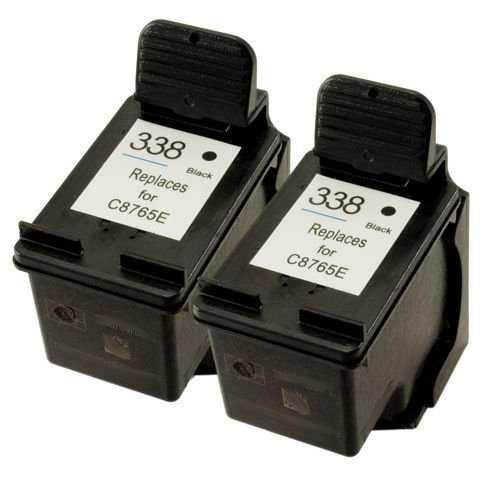 2x kazeta HP 338 (C8765EE) black cartridge černá kompatibilní inkoustová náplň pro tiskárnu HP OfficeJet 7310