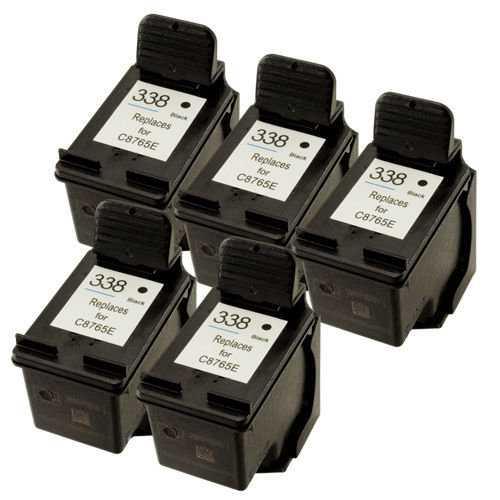 5x kazeta HP 338 (C8765EE) black cartridge černá kompatibilní inkoustová náplň pro tiskárnu HP OfficeJet 7310