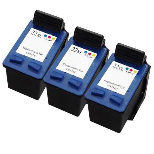 3x HP 22XL (C9352CE) color cartridge kompatibilní barevná inkoustová náplň pro tiskárnu HP DeskJet D1560