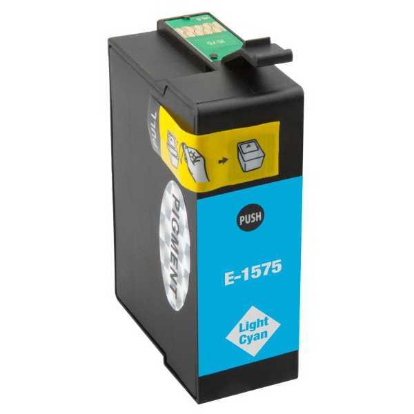 Epson T1575 cyan foto cartridge světle modrá azurová kompatibilní inkoustová náplň pro tiskárnu Epson Stylus Photo R3000