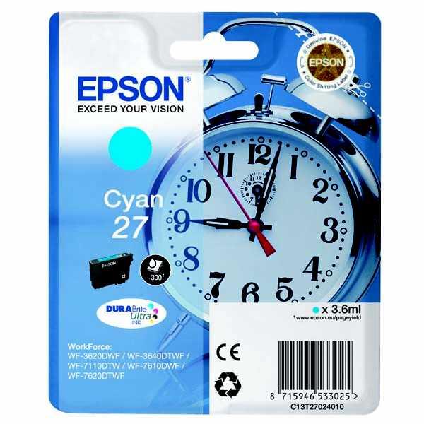 originální Epson T2702 cyan cartridge modrá originální inkoustová náplň pro tiskárnu Epson WorkForce WF-7620 DTWF
