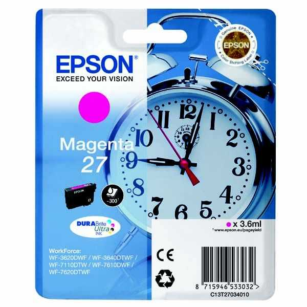 originální Epson T2703 magenta cartridge červená originální inkoustová náplň pro tiskárnu Epson WorkForce WF-3620 DNF