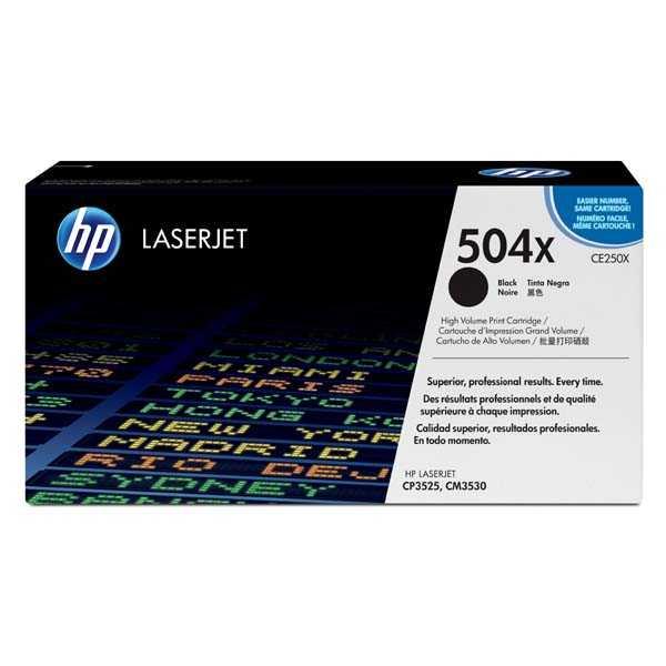 originální toner HP CE250X, HP 504X (10500 stran) black černý velkokapacitní originální toner pro tiskárnu HP Color LaserJet CP3525n