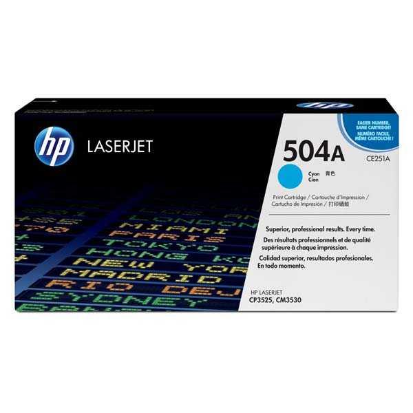 originální toner HP CE251A, HP 504A (7000 stran) cyan modrý azurový originální toner pro tiskárnu HP Color LaserJet CP3525n