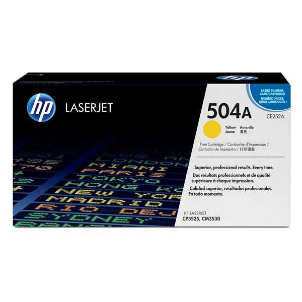 originální toner HP CE252A, HP 504A (7000 stran) yellow žlutý originální toner pro tiskárnu HP Color LaserJet CP3525n