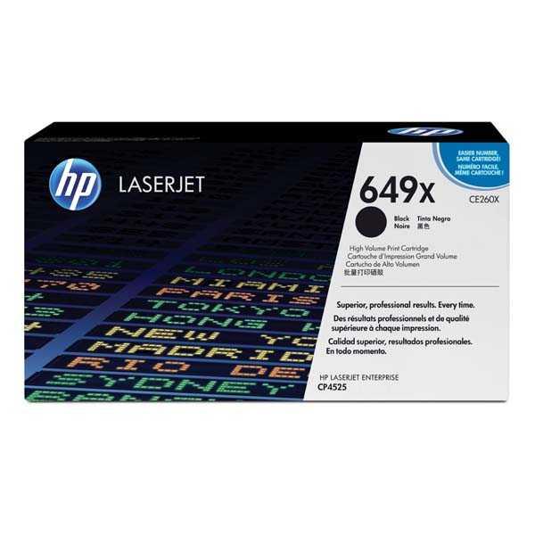 originální toner HP CE260X, HP 649X (17000 stran) black černý velkokapacitní originální toner pro tiskárnu HP Color LaserJet Enterprise CP4525xh
