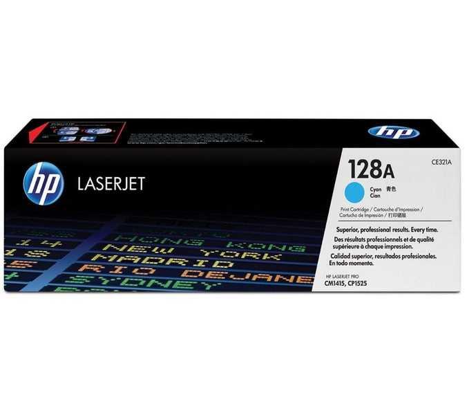 originální toner HP CE321A (HP 128A) cyan modrý azurový originální toner pro tiskárnu HP Color LaserJet Pro CM1415fn