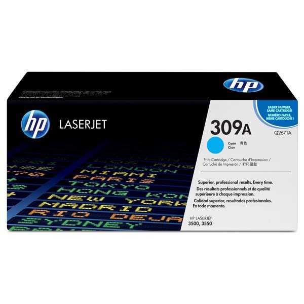 originální toner HP Q2671A, HP 308A cyan modrý azurový originální toner pro tiskárnu HP Color LaserJet 3550