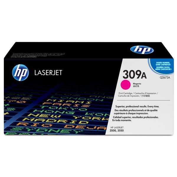originální toner HP Q2673A, HP 308A magenta červený purpurový originální toner pro tiskárnu HP Color LaserJet 3550