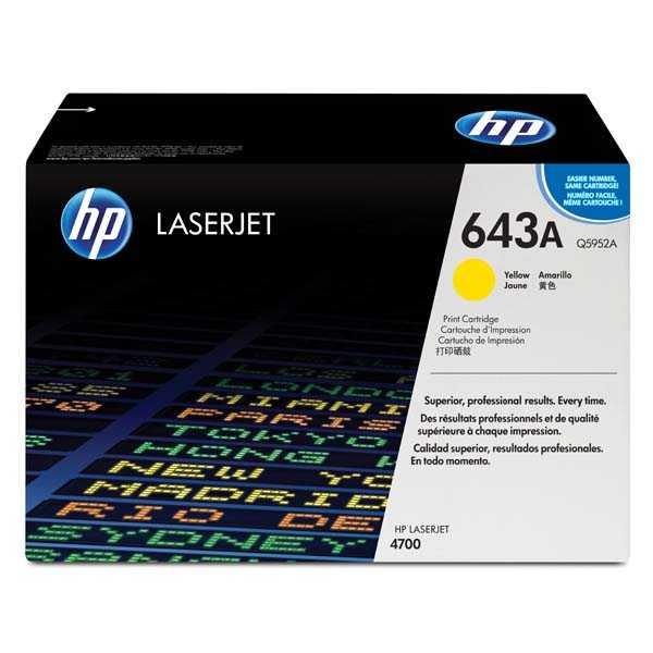 originální toner HP 643A, HP Q5952A (10000 stran) yellow žlutý originální toner pro tiskárnu HP Color LaserJet 4700ph plus
