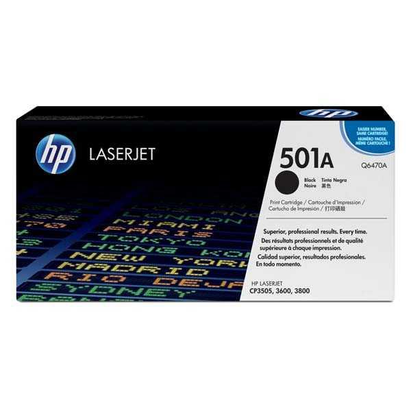 originální toner HP Q6470A, HP 501A black černý toner pro tiskárnu HP Color LaserJet CP3505dn