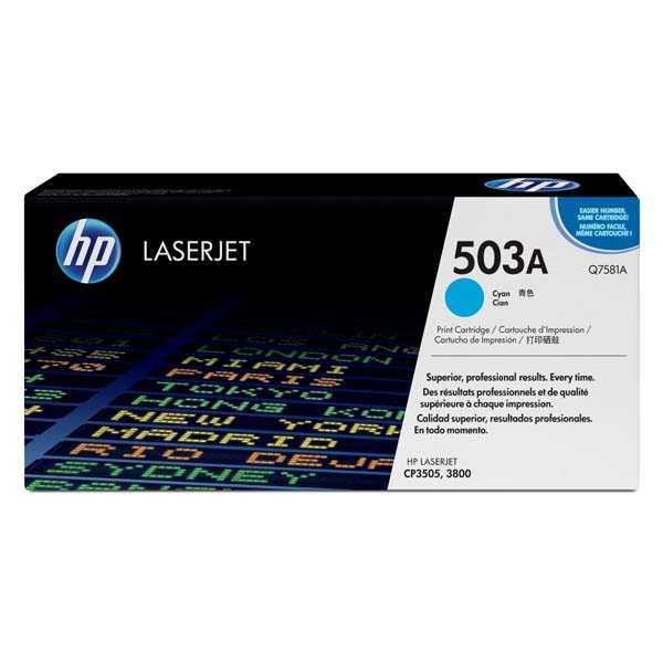 originální toner HP Q7581A, HP 503A (6000 stran) cyan modrý azurový originální toner pro tiskárnu HP Color LaserJet CP3505dn