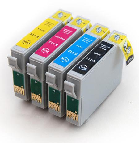 7x sada Epson T0715 (T0711-T0714) - 4 kusy kompatibilní cartridge pro tiskárnu Epson Stylus SX115