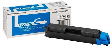 originální toner Kyocera TK-590c 0T2KVCNL cyan modrý azurový originální toner pro tiskárnu Kyocera FS-C2026MFP-Plus