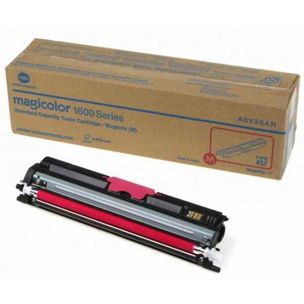 originální toner Konica-Minolta A0V30CH (M1600m) magenta purpurový červený originální toner pro tiskárnu Konica Minolta Magicolor 1650EN