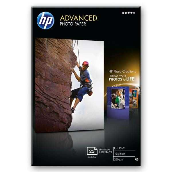HP Advanced Glossy Photo Paper, foto papír, lesklý, zdokonalený, bílý, 10x15cm, 4x6\'\', 250 g/m2, 25 ks, Q8691A, inkoustový, bez okrajů