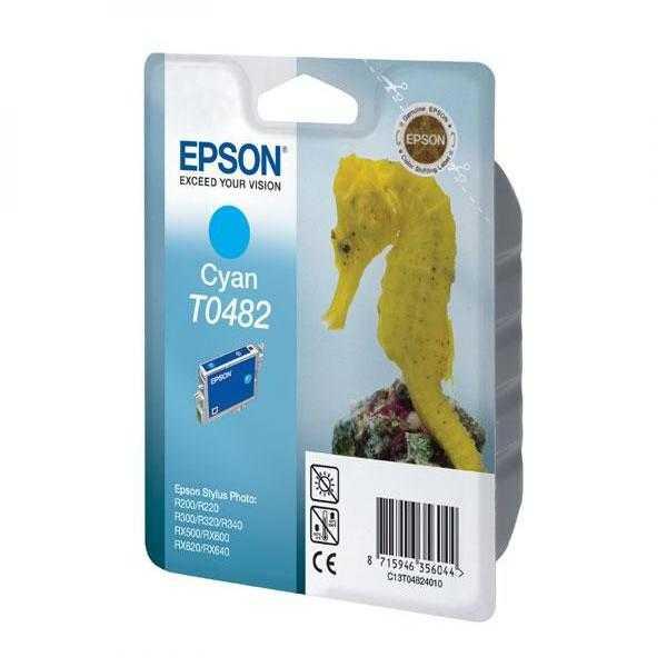 originální Epson T0482 cyan azurová cartridge, modrá originální inkoustová náplň pro tiskárnu Epson Stylus Photo R200