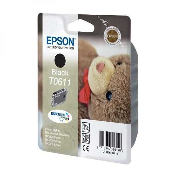 originální Epson T0611 black cartridge černá originální inkoustová náplň pro tiskárnu Epson Stylus D68