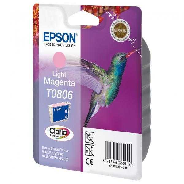 originální Epson T0806 foto magenta cartridge světlá purpurová originální inkoustová náplň pro tiskárnu Epson Stylus Photo PX650