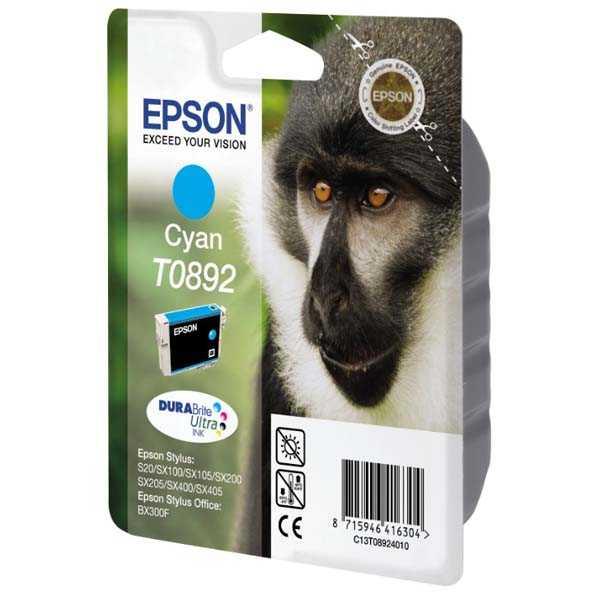 originální Epson T0892 cyan cartridge, modrá azurová originální inkoustová náplň pro tiskárnu Epson Stylus SX105