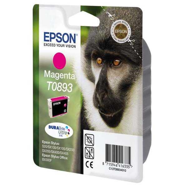 originální Epson T0893 magenta cartridge, purpurová červená originální inkoustová náplň pro tiskárnu Epson Stylus SX105