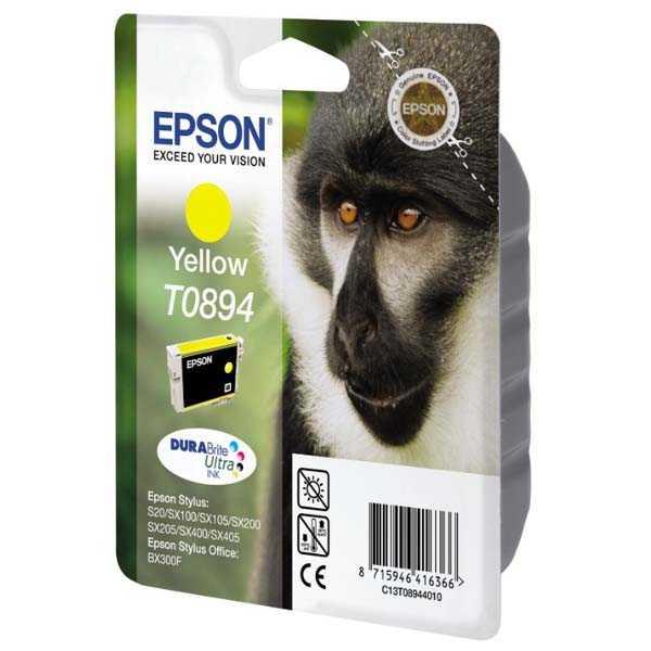 originální Epson T0894 yellow cartridge, žlutá originální inkoustová náplň pro tiskárnu Epson Stylus SX105