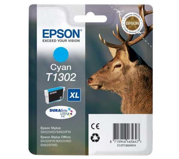 originální Epson T1302 cyan cartridge modrá azurová originální inkoustová náplň pro tiskárnu Epson Stylus SX535WD