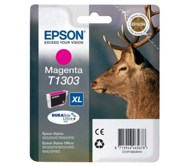 originální Epson T1303 magenta cartridge purpurová originální inkoustová náplň pro tiskárnu Epson Stylus Office BX525WD