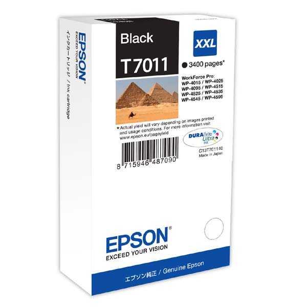 originální Epson T701140 black černá inkoustová originální cartridge pro tiskárnu Epson WorkForce Pro WP-4015 DN