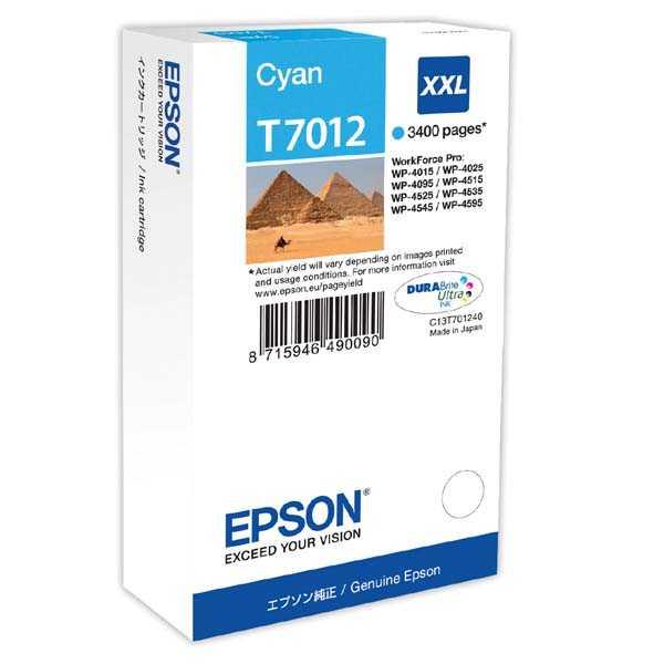 originální Epson T701240 cyan modrá azurová inkoustová originální cartridge pro tiskárnu Epson WorkForce Pro WP-4015 DN