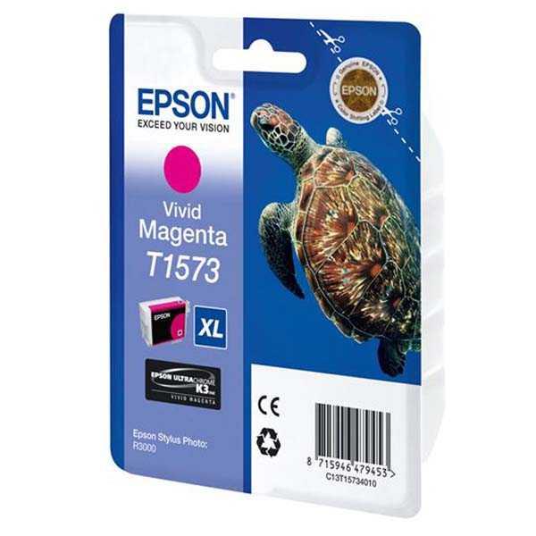 originální Epson T1573 magenta cartridge purpurová červená originální inkoustová náplň pro tiskárnu Epson Stylus Photo R3000