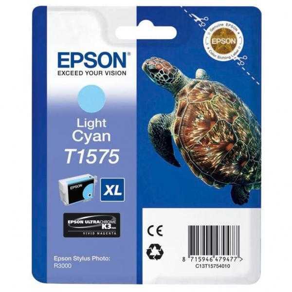 originální Epson T1575 cyan foto cartridge světle modrá azurová originální inkoustová náplň pro tiskárnu Epson Stylus Photo R3000