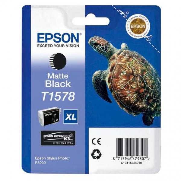 originální Epson T1578 matt black cartridge matná černá originální inkoustová náplň pro tiskárnu Epson Stylus Photo R3000