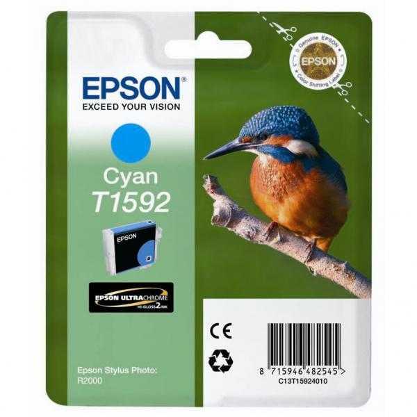 originální Epson T1592 cyan modrá azurová originální inkoustová cartridge náplň pro tiskárnu Epson Stylus Photo R2000