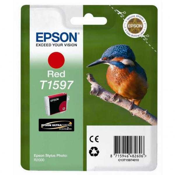 originální Epson T1597 red rudá červená originální inkoustová cartridge náplň pro tiskárnu Epson Stylus Photo R2000