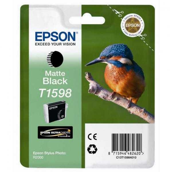 originální Epson T1598 matt black matná černá originální inkoustová cartridge náplň pro tiskárnu Epson Stylus Photo R2000