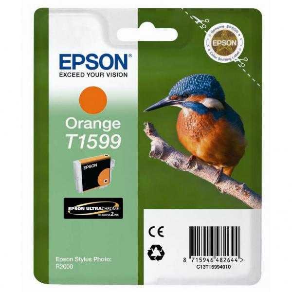 originální Epson T1599 orange oranžová originální inkoustová cartridge náplň pro tiskárnu Epson Stylus Photo R2000