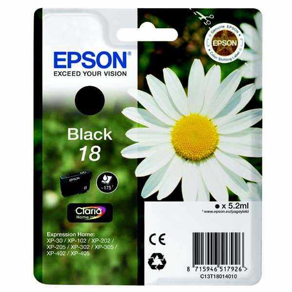 originální Epson T1801 black cartridge černá originální inkoustová náplň pro tiskárnu Epson Expression Home XP-302