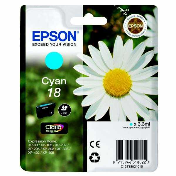 originální Epson T1802 cyan modrá azurová cartridge originální inkoustová náplň pro tiskárnu Epson Expression Home XP-302