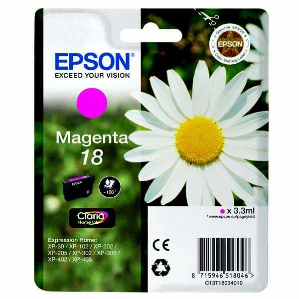 originální Epson T1803 magenta purpurová červená cartridge originální inkoustová náplň pro tiskárnu Epson Expression Home XP-212